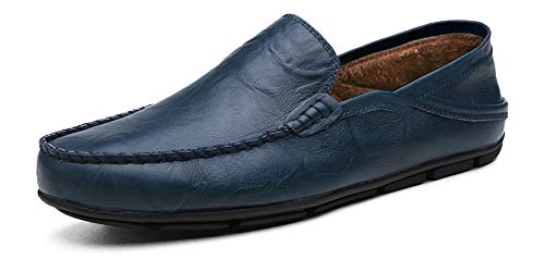 Go Tour Men's Premium Genuine Leather Casual Slip On Loafers Breathable Driving Shoes Fashion Slipper Blue Fur 42 (Driving Shoes Loafer)
