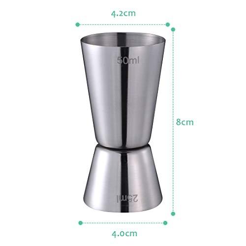 Compra Taza de medición del acero inoxidable Jigger Measure del aparejo de la medidor de cóctel camarero Drink Mixer licor taza de medición Vaso Doble ...