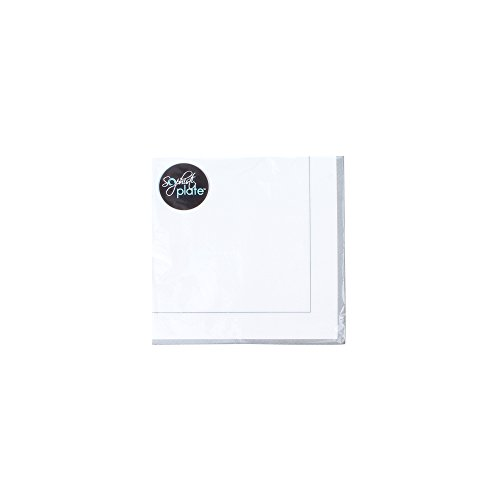 Sophistiplate 08Qca3 Classic Disposable 3-Ply Paper Dinner Napkins, Silver (Pack of 60)