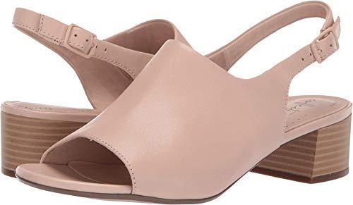 CLARKS Women's Elisa Kristie Heeled Sandal, Blush Leather, 095 W - Leather Medium Back