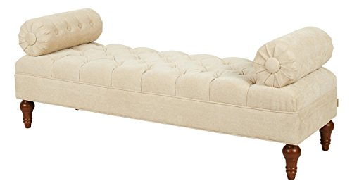 Jennifer Taylor Home Bolster Collection Hand-Tufted Upholstered Entryway Bench with 2 Detachable Bolster Style Pillows, (Hand Tufted Beige Polyester)