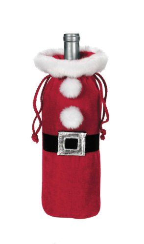 Ganz Plush Santa Suit Wine Bottle Bag