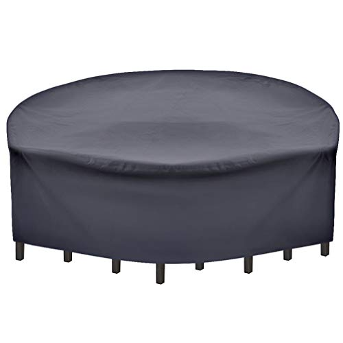 (SUNRAIN Patio Furniture Covers Waterproof Outdoor Patio Cover Round-with Strap-for Round Patio Table Chair Set Cover 96 Inch Diameter)