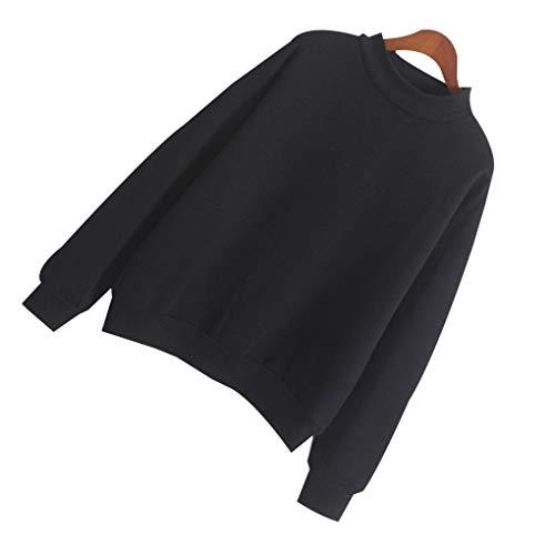 Épais Hiver Femmes Rond Manches Col Longues Vêtements Couleur Pure Sweat Noir Fille cpA4qBRW