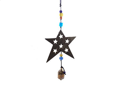 Beads Dragonfly Glass (Moksha Handmade 5-Pointed Star Noisemaker Wind Chime With Glass Beads and Nana Bell)