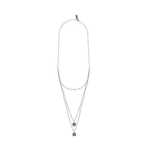 - WILLOWBIRD Triple Stranded Round Simulated Turquoise Sparkle Chain Necklace for Women in Oxidized 925 Sterling Silver