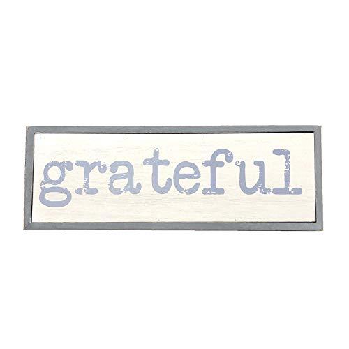 - Parisloft Grateful Solid Pine Wood Block Signs for Home Decor, Farmhouse Style Wood Decor, Rustic Grey 11L''x4''H