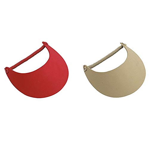 2-Pack Lightweight Foam Coil Sun Visor, Multi Color Options (One Size, Red-Khaki)]()