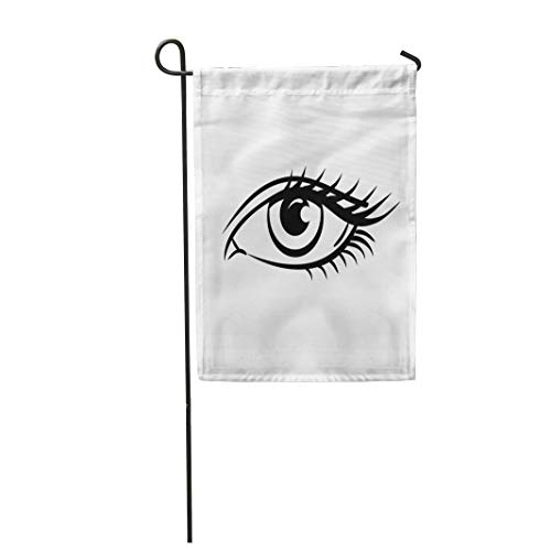 Semtomn Garden Flag 28x40 Inches Print On Two Side Polyester Face Eye on White Woman The Eyes Human Close Up Graphic Black Closeup Drawing Home Yard Farm Fade Resistant Outdoor House Decor Flag