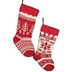 Kurt Adler Red and Cream Knit Stockings 2 Assorted