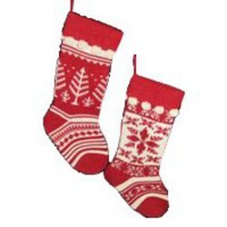Christmas Stockings - Kurt Adler Red and Cream Knit Stockings 2 Assorted