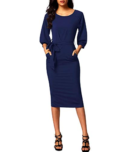 Blue Sleeve Belted Dress 4 MuCoo 3 Round Chiffon Pockets Neck Pencil Puff Women's with TqTYORwZ