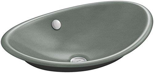 KOHLER K-5403-P5-FT Iron Plains Wading Pool Oval Bathroom Sink with Iron Black Painted Underside, Basalt