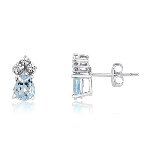 - FB Jewels Solid 14k White Gold Studs Genuine Blue Birthstone Aquamarine Pear Earrings with Diamonds (4/5 Cttw.)