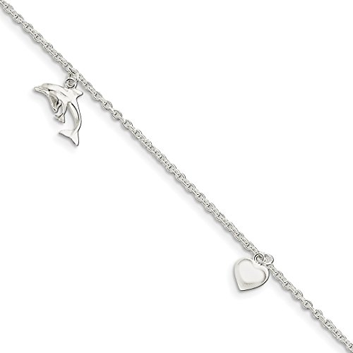 925 Sterling Silver Heart Star Dolphin Anklet Ankle Beach Chain Bracelet Fine Jewelry For Women Gift Set -