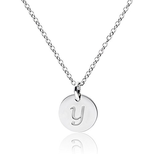 """Three Keys Jewelry Stainless Steel Silver Tone Initial Alphabet 0.4"""" Disc Pendant Necklace 18"""" with 5cm Extension Trace Chain PD-S-Y"""