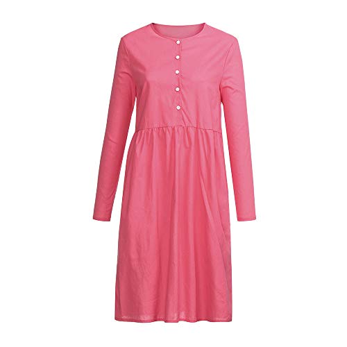 - HIRIRI Teen Girls Country Peasant Dress Cabin Tale Costumes Maid Cosplay Ladies Button Down Plain Dresses Pink
