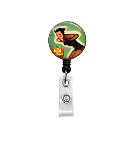 Vintage Halloween - Retractable Badge Reel - Pinup Girl Art - Badge Holder - Office ID, Key Card Holder, Spooky Cat Girl, (Spooky Halloween Cat Names)