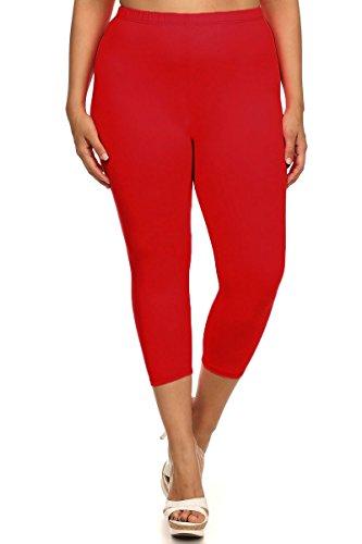 World of Leggings® Made in the Usa PLUS SIZE Cotton Capri Leggings Red 3XL