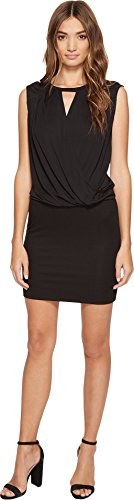 Lanston Women's Surplice Tank Dress Black (Surplice Tank Dress)