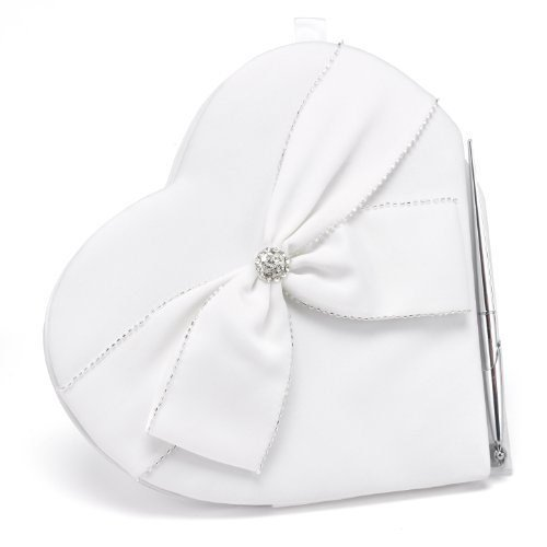 (Hortense B. Hewitt Sparkling Sash Wedding Accessories, Heart Shaped Guest Book and Pen)