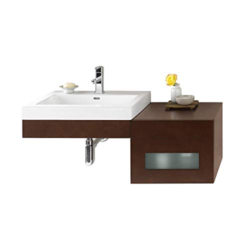 RONBOW Adina 24 inch Wall Mount Bathroom Vanity Set in Dark Cherry, Frosted Glass Front Bathroom Vanity Cabinet Drawer, White Evin Bathroom Sink Top with Single Faucet Hole 015623-H01_Kit_2 -