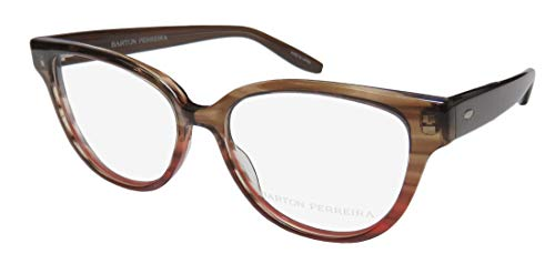 Barton Perreira Veronica For Ladies/Women Cat Eye Full-Rim Shape Beautiful Eyes Eyeglasses/Eyeglass Frame (50-15-143, Transparent Brown/Red) (Cats Eye Brille)