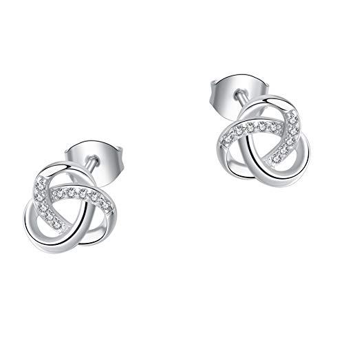(SA SILVERAGE Small Twisted Love Knot Stud Earrings Cubic Zirconia Sterling Silver Studs for Girl Women)
