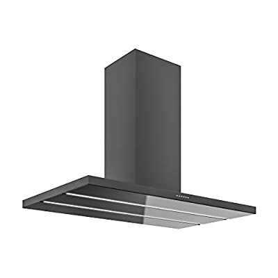 Futuro Futuro Viale Black 48 Inch Island-mount Kitchen Range Hood - Slim Steel and Glass Design from Italy - LED Ultra-Quiet with Blower