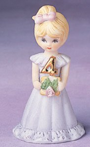 "Enesco Growing Up Girls ""Blonde Age 4"" Porcelain Figurine, 3.5"" (Porcelain Figurine 4 Age)"