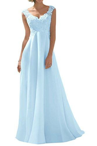 Spitze Damen Brautmode Blau Brautkleider Rock Lang Hell Chiffon 2018 Weiss Charmant Hochzeitskleider Abendkleider Neu TWfAA