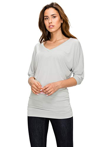 MBJ Womens ITY V-Neck 3/4 Sleeve Drape Top with Side Shirring Dolman - Made in USA M Light_Grey