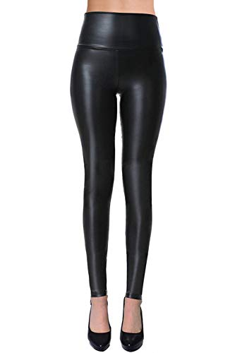 Womens Sexy Tight Fit Faux Leather High Waisted Leggings (Black, ()
