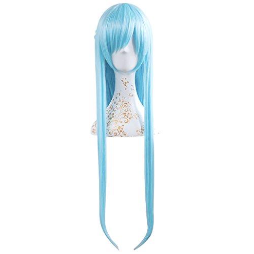 Uwowo Asuna Yuuki Long Straight Blue Cosplay Wig With (Blue Asuna Costume)