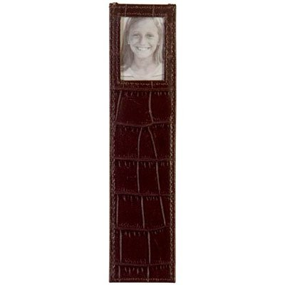 (Italian Leather Bookmark W/photo By Alicia Klein® - Dark Chocolate)