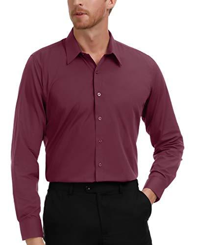 PAUL JONES Men's Dress Shirts for Wedding Burgundy Business Formal Shirts (Shirts 4x Mens Dress)