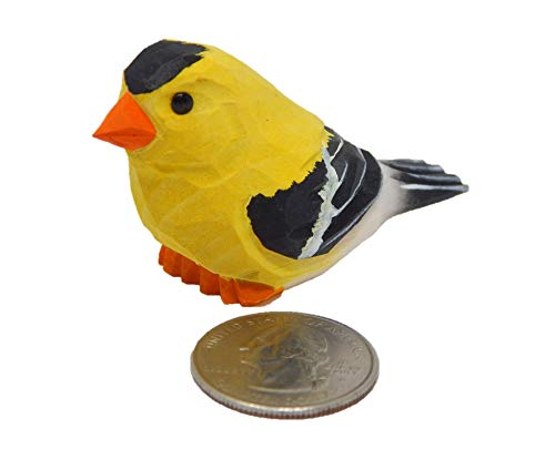 European Goldfinch - Miniature Hand-Painted Wooden Yellow Bird Vintage Art Decoy Mini Carved Ornament Figurine Small Animals Collectible