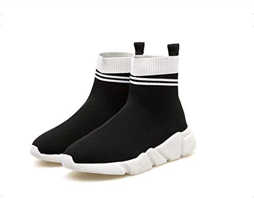 Alto-Top Calcetines Botines Casual Sport Zapatos Mujeres Elasticidad Color Partido Snekers EU Tamaño 35-39 White