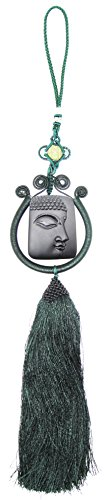 Lucky Seven Car Charm - Obsidian Jewelry Car Rear View Mirror Hanging Decorations Talisman Buddha Head Charm Chinese Lucky Knot Tassels