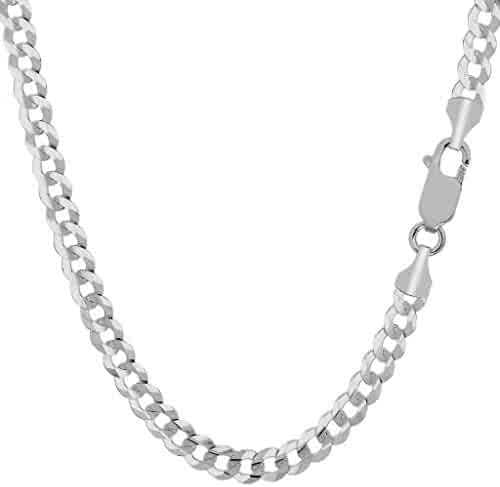 18K Solid Gold Heavyweight 4.5mm Cuban Curb Link Chain Necklace- Italian Design- 18 Karat
