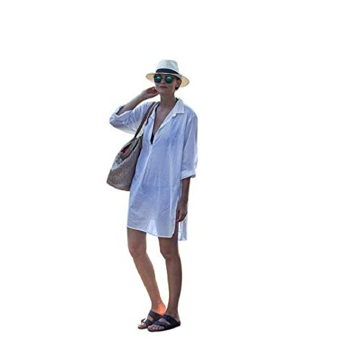 NFASHIONSO Women's V-Neck Swimsuit Beach Cover Up Shirt...
