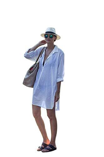 NFASHIONSO Women's V-Neck Swimsuit Beach Cover Up Shirt Bikini Beachwear Bathing Suit Beach Dress,White ()