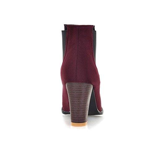 Fashion Heel Womens Chunky Heel Handmade Pointed Toe Ankle Boot Burgundy pMXx5c4Gs
