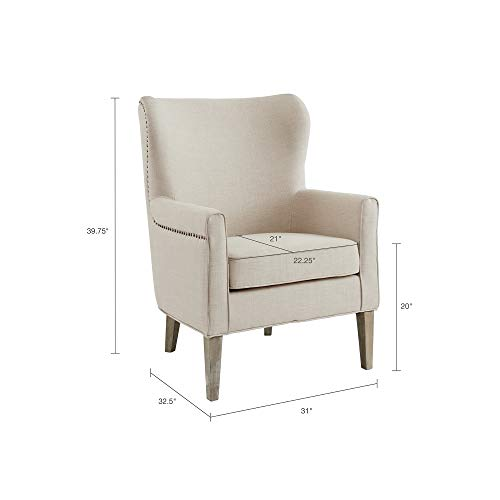 Madison Park Colette Chairs-Solid Wood, Wing Back Armchair Modern Contemporary Style Living Room Sofa Furniture Track Arm, Nailhead Accent, Bedroom Lounge, 31 Wide, Natural