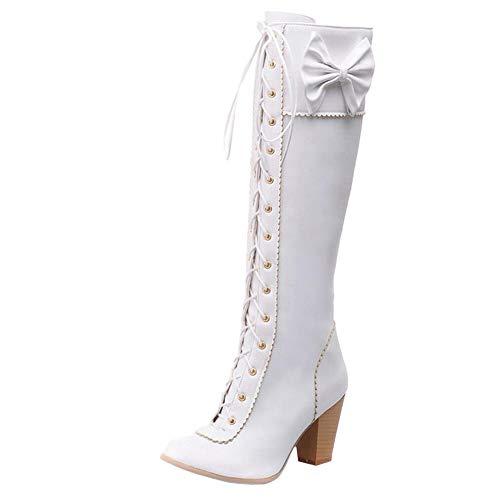 Bottes Femmes Blanc Le Mode Lacets Haute Genou Taoffen zYfnUqY