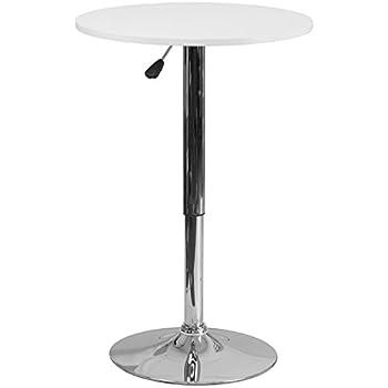 Flash Furniture 23.75u0027u0027 Round Adjustable Height White Wood Table (Adjustable  Range 26.25u0027
