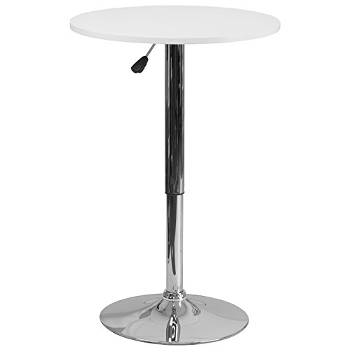Flash Furniture 23.75'' Round Adjustable Height White Wood Table (Adjustable Range 26.25'' - 35.75'') (Table For Wood Legs Sale)