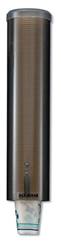 San Jamar C3260 Large Pull Type Water Cup Dispenser, Fits 4-1/2oz to 7oz Cone and 6oz to 12oz Flat Cup Size, 2-3/4' to 3-3/8' Rim, 16' Tube Length, Bronze