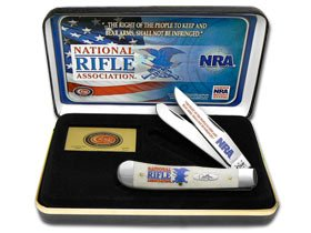 CASE XX National Rifle Association NRA Smooth White Bone Trapper Pocket Knife Knives