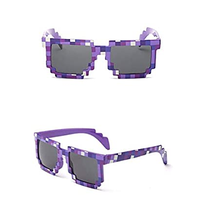 54dba52fedcdb Amazon.com   Fashion Sunglasses Kids cos play action Game Toys Minecrafter  Square Glasses with EVA case gifts for Men Women PURPLE   Everything Else